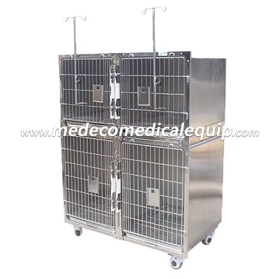 Animal Products Veterinary Hospital 304 Stainless Steel Double Floor Pet Cage MEdy02