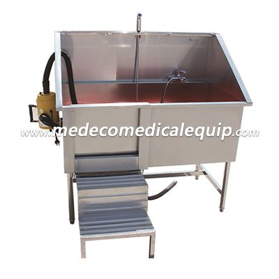 MEX04 Veterinary Stainless Steel Pet Pedal Moving Door Sink with Hair Dryer, Cleaning Tub